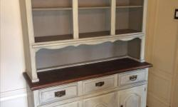 """Bought this antique sideboard and hutch from """"A French Touch"""" store in Oak Bay. It came finished with Annie Sloan chalk paint, original hardware on drawers and doors."""
