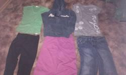 There are 2 Hoodies, 3 pairs of pants and some short sleeve and long sleeve shirts. All are in good condition.