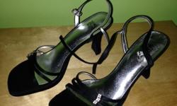 worn once! Black satin straps with 3.5 inch heel. Rhinestone bling!