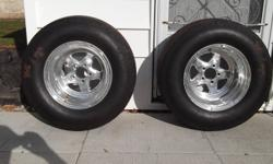 15x10 Prostars with 4.5 bolt space,3.5 backspace.MT tubes and 28x10.5 slicks. Only 5 1/4 mile passes. $400.00 or BO. Niagara Falls.