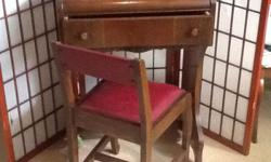 "This is a vintage Desk and Chair in VG condition desk has a pencil holder and footrest. Really cute for a childs room or for small spaces. 30"" high 14' wide and 21"" deep. Asking 145 obo. delivery available locally for a small fee. Check out my other ads"