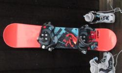 "125cm SIMS snowboard with MORROW ""SLIDER"" bindings. worked great for my 13 yr old last year at mt. washington. good for all runs beginner to boomerang! the boots are salomon womens size 7 but fit my sons size 5 last year.boots are $20.00 extra(paid"