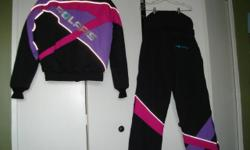 Polaris snowmobile 2-pc suit, lightly used. Mens Small, fits up to Womens Medium. Reflective piping - black, mauve, pink colors. Condition like new.