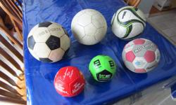 Soccer Balls Front row, left to right: SOLD, SOLD, SOLD Back row (all size 5), left to right: $5, $10, SOLD One small ball (not pictured) like the two which are sold is available: $3