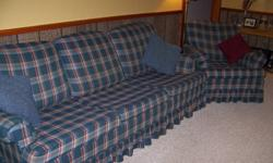 For sale.  Used Sofa Chair and Couch.  Blue Plaid with green and dark red blended in.   Couch is 78in. long. Chair 30in wide Both chair/couch 32in high.  In good condition....Great deal for students....Need to move out by Sunday Oct.1 Asking $100.00 firm.