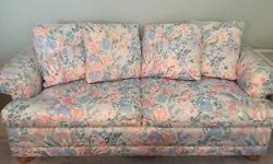 "Sofa Bed, older but in excellent condition, gently used, comfortable Queen size mattress, floral design, button feet, 78"" w x 26"" h x 38"" d, Pick up and Cash only"