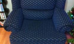 For sale: used blue Sears sofa & chair set. Chair is in excellent, almost new condition. Matching sofa is in fair condition, showing wear and does have a few hidden tears. Asking $75 for the pair, or $50 for the chair by itself. Located in a smoke-free