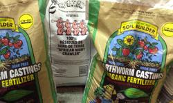 Earthworm castings, Bat Guano, Kelp meal, Fishbone meal, Alfalfa meal, Glacial rock dust, Living soil blend, Fish and crab meal, Langbeinite, Blood meal, Bone meal, Pyrolyphic clay, Subculture (all Welcome Harvest and Gaia Green products are available)
