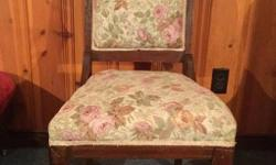 FOR SALE THIS VERY NICE CLEAN SOLID ANTIQUE OCCASIONAL CHAIR, CASTERS ON FRONT LEGS, WEAR CONSISTENT WITH AGE, NO RIPS OR STAINS, $40.00