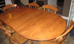 """6 chairs. 2 removable leaves on solid pedestal legs.The leaves are easy to to remove and put back. the measurements are 6ft 8"""" by 40"""". Without the leaves it measures 4ft 8"""". Asking $500 or best offer  519 751 4112"""