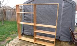 I have several bookcases available. Solid Maple with a a natural finish. Some units have minor marks, that are easily fixable. Cases include 4 adjustable shelves in addition to top and bottom. These can be made into double wide units as well. Double units