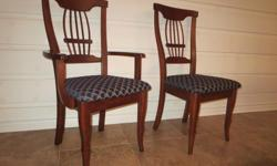 For sale 6 dining room chairs (2 captains and 4 regular) - Top quality - 100% maple hardwood - manufactured by Roxton - mint condition Retail: $1500, asking $475
