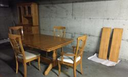 """Solid maple table and 4 chairs. This is a very solid, heavy set, the table has 2 leaves, it has a few scratches that are not deep and may polish out. The chairs have some stains but would be easy to reupholster. Table measures 49"""" wide, 60"""" long, leaves"""
