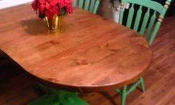 """Solid Pine Table - 2"""" Thick and satin finished - includes 2 center leafs and 4 chairs.   Excellent condition!"""