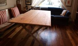 """For sale is a handmade dinner table - made from solid red oak 36"""" x 86"""" x 30"""" - the table comfortably seats 8 people. Hand rubbed danish oil finish, no exposed screws top easily detaches from the base for transportation $500 firm - can deliver for what it"""