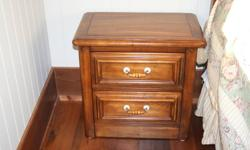 Beautiful solid wood queen bedroom set, includes headboard, 2 night side tables, 2 dressers and a wash stand.