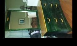"""Dresser with mirror - Lenght 49 1/2"""" Night table Chest with Book Case - Lenght 31 1/2"""" (two pieces) book case can be removed. Head board and foot board - Queen Size All pieces are green color with natural wood tops All of the pieces are in good shape"""
