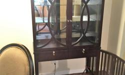 Moving, must sell my china cabinet which was purchased from Chintz & Co. The china cabinet has 3 shelves (2 glass) with mirrored back. It has an interior light as well as 2 drawers in the front for extra storage. The pattern on the doors match the chairs