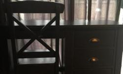 """Solid wood (dark blue finish) desk & matching chair. Solid construction. Dovetail drawers and silver tone handles. Top of desk could use refinishing or keep as is for distressed effect. 48 1/2"""" L x 18""""W x 31 1/2""""H Asking $50 for the set."""