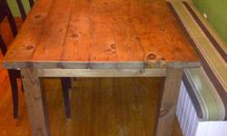 """hand crafted  New dining tables, sizes ranging from 24"""" - 144""""     the table shown is 36x64"""" and 30"""" high  completely solid, 1.5"""" thick pine top stained in light walnut, $425.00 (harvest table 1"""" thick pine top however can be upgraded to 1.5"""" thick)   any"""