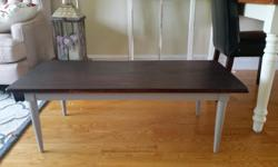 Great, freshly stained and sealed coffee table. We were going to use at our cottage but change of plans. Solid wood, great to go. I had painted the base gray but can easily be switched to another colour in no time. Why spend over $100+ for something new