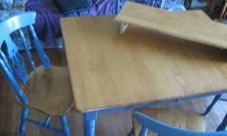 In very good condition. Solid hardwood table and chairs (4). Center leaf. You will pay over $1000 to get similar quality....or got to Walmart, spend $400 and throw it out next year.   Lyn area (just outside Brockville). Can deliver. Sell for $200 obo.