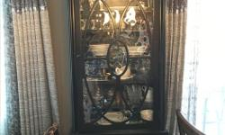 SOLID WOOD LIGHTED DISPLAY CABINET FOR SALE. EXCELLENT CONDITION. 6 FRAMED GLASS SHELF 2 DRAWERS DEPTH- 1 FT 54 INCH WIDTH- 2 FT 19 INCH HEIGHT-6 FT 26 INC DISHES ARE NOT INCLUDED.