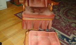 For sale: Solid wood glider chair and glider footstool. The only thing is that the springs in the chair need to be fixed.