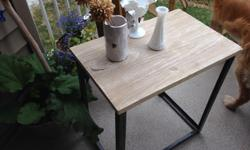 """23 """" high x 14 w x 22 L Solid wooden table top and metal legs"""