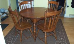 """I have a gorgeous dining table with 6 chairs and 2 leafs. The table measures 43"""" without the leafs and 67"""" with them both in. The 2 captain chairs are not shown in picture, they are out in my garage because I don't have the room. The buffet measures 53""""L"""