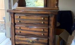 This classic style upright dresser in solid wood , with mirror, is priced to clear out of my garage. Night table included in this price.