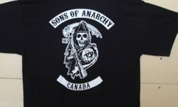 have sons of anarchy black t-shirt for sale good 100% cotton preshunk, with small reaper in the front and the back is a large reaper with sons of archary logo n bottom rocker says canada. get them before there all gone, and they are going fast sizes r