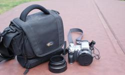 """SUPER STEADY SHOT, 5.1 MEGAPIXELS, 12X OPTICAL ZOOM, 2.5"""" LCD MONITOR, MPEG MOVIE VX, BUILT IN FLASH, VIDEO CABLE, COMPUTER CABLE INCLUDED FOR DIRECT DOWNLOAD. MEMORY STICK & LOWEPRO CARRYING CASE ALSO INCLUDED."""
