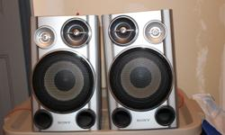 """Two Sony speakers. Size 7"""" (18 cm) by 12"""" (30 cm) Excellant sound."""