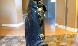 Black leather, 4 pocket bag. Used minimally, great shape