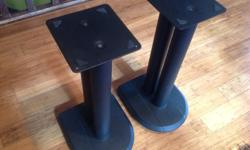 Speaker stands (steel, heavy duty, spikes) Very nice condition Removable spikes Very well made, fillable, and cables can be hidden in the rear pillar 22' tall......top plate is 7'x 7.5'