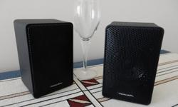 MINIMUS 3.5 Realistic speakers (5.75 in. x 3.5in. x 3.25in.) sturdy hard case, 15 W, (wine glass in photo for size)