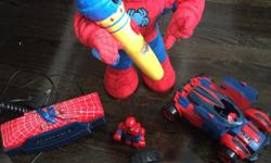 Rare Spider-Man toys, see description and prices below. Bundle purchase $65. - Spider-Man Marvel Regener8rs (Red)- 8 Vehicles in 1: twists and transforms into eight different configurations. Free wheeling, dual sided. Age 2-4 yes, like new condition great