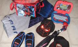 Everything in the picture is for this price. Includes Spiderman Case for to put toys or cars in, blanket, Slippers Size 2/3, Umbrella, Watch, Computer for kids, 2 Baseball Hats Sizes 53 cm and 4-7, a Patch and mitts. Everything is in excellent condition.