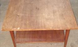 """Square wood coffee table. 20""""H x 30"""" W x 30"""" D."""