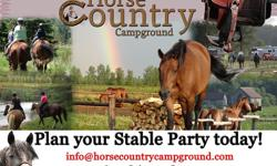 Plan a horse stable group party for a fun weekend of camping or come out for the day and enjoy some horseback riding. We have the ideal location for a fun, team building or group bonding activity. With over 40 km's of trail access, full resort amenities