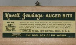 Vintage ~ Russell Jennings Stanley Auger Bits in 3 Tiered Box with (10) TEN misc. bits. Box measures 10 3/8'' long. 3 3/4'' wide. 3 7/8'' high. dovetailed ends.  Box has some dings, scrapes. could use a good cleaning nad refinishing. Bits and the box, are
