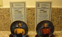 Hamilton Collection Mini Plates Set.  Complete set includes Picard, Riker, Warf, Data, Troy, Laforge, Dr.Crusher and Wes Crusher.  All in excellent condition and all with certificates of authenticity.  8 Plates total.