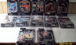 star wars older vintage style figures. will trade all for star wars large legacy millennium falcon. 250-862-8807.