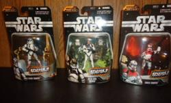 These 3 figures were released in 2006 from the saga collection. The cards of each figure looks brand new with no problems. Included is the infamous 501st legion clone trooper, shock trooper, and an at-te tank gunner. All 3 action figures are $10 each. Or