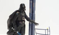 """In mint condition and adult owned. Figure is 100% complete with breakaway background set, cape and blue lightsaber. Figure is very well sculpted and features a slashing action feature by pushing a button at the back. Figure measures about 4"""" inches tall."""