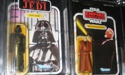 Obi -Wan Kenobi AFA esb 48 back a This figure was packed a blue telescope Lightsaber and a brown vinyl cape. ( GREY HAIR )the hard one to get ! UNPUNCHED Darth Vader 1983 rotj 77 back a This figure was packed with a vinyl cape and Lightsaber accessory.