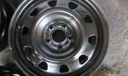Four steel 16 inch 5 bolt rims fits 2007 pontiac G6 G5 and pontiac vibe. 16 x 6.5 width 2 3/4 inch center hole 4 inches from one bolt hole to the other on center.Rim part number X43653. dimetions 16x6.5-114.3 45/60.4