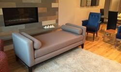 Like New custom daybed . color is Ottawa Pewter with expresso wood legs . Dimensions : L 70 D 29 H 27 arm seat 18.5 seated area 60