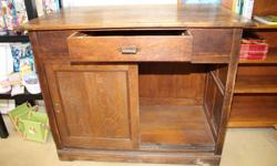 """Oak Counter with Drawer & Sliding Doors See more at Street Flea Market in Smiths Falls """"Storewide Red Tag Sale"""" 40% off all in store merchandise"""